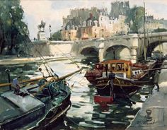 Barges Along the Quay - Paris in Painting by Robert RIcart French Artist