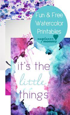 Fun & Free Watercolor Printables