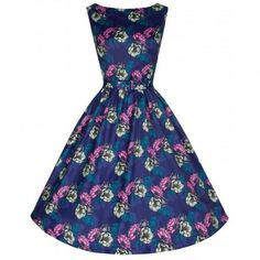 audrey-classy-chic-vintage-inspired-50s-navy-deco-floral-swing-dress