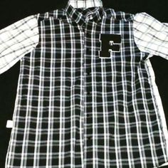 Short Sleeve Button Up Polo Blk/Wht Plaid