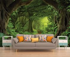 Forest Vinyl Wallpaper, Wallpaper, Removable Wallpaper, Peel and Stick, Self Adhesive, Temporary Wal