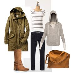 heather hoodie, skinny jeans, boots, and an army green jacket... what's not to like?