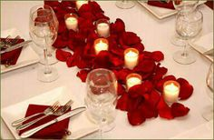 Very simple yet nice looking way of decorating a table for a wedding or anniversary