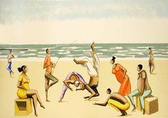 Capoeira na praia, de Carybé. Elfi Kürten Fenske: Carybé (Hector Julio Páride Bernabó) - A arte e a paixão pela Bahia