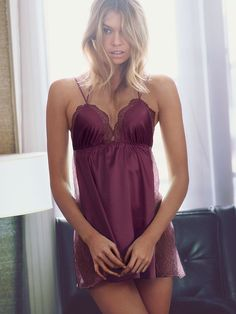 Even steamy nights can use a little extra sizzle...AKA satin lingerie. | Victoria's Secret Lace-trim Satin Babydoll