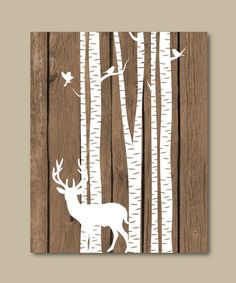 Deer with birch trees deer nursery decor by RainbowsLollipopsArt