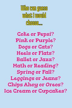 coke (or mountain dew) - pink - cats - flats - ballet - reading - fall - leggings under dress - oreos - cupcakes Things To Do At A Sleepover, Fun Sleepover Ideas, Things To Do When Bored, Sleepover Games, Girl Sleepover, Fun Things, Do You Know Me, Do You Really, Just For You