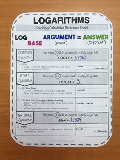 This graphing calculator reference sheet on logarithms, guides students step-by-step on how to evaluate logarithms. Includes common logs, change of base, and natural logs. Teaching graphing calculator skills help students with: Math Teacher, Math Classroom, Teaching Math, Learning Activities, Classroom Ideas, Algebra Activities, Classroom Activities, Teaching Ideas, Online Math Courses