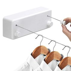 Hoimpro Retractable Clothesline with Adjustable Stainless Steel Double Rope String Hotel Style Heavy Duty for Bathroom, Wall Mounted Laundry Drying Line for Shower, 14 Feet Indoor Clothes Line, White Laundry Hanger, Laundry Drying, Laundry Cart, Laundry Room, Outdoor Washing Lines, Indoor Clothes Lines, Wall Drying Rack, Slider Design, Triangle Shelf