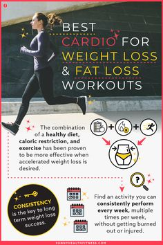 The combination of a healthy diet, caloric restriction, and exercise has been proven to be more effective when accelerated weight loss is desired. To help you determine which workouts are best for you, I have provided six different styles of workouts below that you can incorporate into your regular routine to start working towards your weight loss goal today. #sunnyhealthfitness #cardio #cardioforweightloss #weightloss #loseweight #bestcardio #cardioworkouts Health And Fitness Articles, Health And Wellness, Health Fitness, Best Cardio Workout, Workouts, Weight Loss Goals, Routine, Lose Weight, Exercise