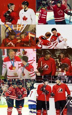 Team Canada Olympics Jerome Iginla and Sidney Crosby Olympic Hockey, Olympic Games, Hockey Teams, Ice Hockey, Hockey Girls, Boys, Cracker Jacks, Going For Gold, Athletic Wear