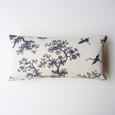 Cushion made from hand printed fabric in one of the most popular patterns from the Florence Broadhurst library - The Cranes. A classic oriental design.