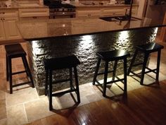 Nice Stacked Stone Tile For Home Interior Design Ideas: Stacked Stone Tile With Light And Stools For Kitchen Decoration Ideas