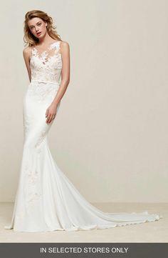 Main Image - Pronovias Drenoa Lace Illusion Mermaid Gown A Line Gown 66cdf4e8c8d9