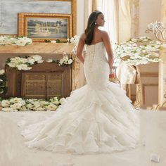 Sweetheart Full Appliques Beaded Ruffles Organza Chapel Train Mermaid Wedding Dress - Uniqistic.com