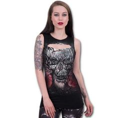 Dark Roots, gothic metal fantasy mouwloos dames top met cut out detail zwart
