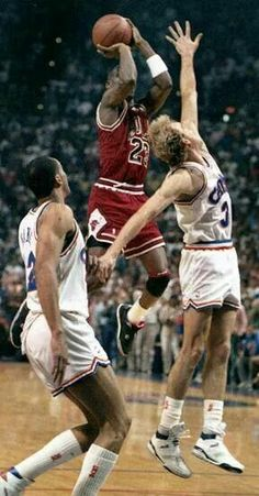 """The GOAT knocks down """"The Shot"""" over Craig Ehlo for the series win against the Cavs in Cleveland."""
