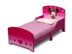 Cama infantil de madera con Minnie Mouse Pink ideal para el cambio de la cuna a la cama. #bainba #mueblesminnie #dormitorioinfantil #minniemouse