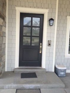 Beautiful solid entry doors - see our story for even more plans! Black Exterior Doors, Black Garage Doors, Wooden Garage Doors, Exterior Doors With Glass, Front Doors With Windows, Wood Front Doors, Glass Front Door, Exterior House Colors, Interior Barn Doors