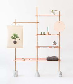 The second iteration of the Stacklet shelving, originally designed for the One Good Deed Today shop interior, the Small Stack has been adapted for personal use within a home environment. Comprised of oak dowels which slot into geometric marble...