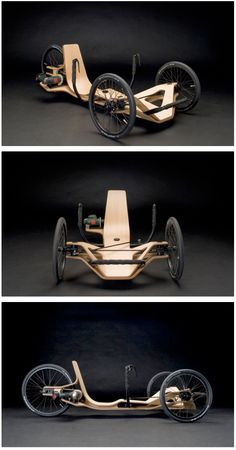 Rennholz Vehicle Concept :: Powered by Bosch. This is what happens when an Eame… Rennholz Vehicle Concept :: Powered by Bosch. This is what happens when an Eames chair gets tired of sitting around and sprouts some tires…and a cordless drill for an engine. Tricycle, Velo Cargo, Wood Bike, Pedal Cars, Bike Design, Chair Design, Design Design, Transportation Design, Go Kart