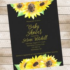 Sunflower Baby Shower Invitation Printable Chalkboard Background Autumn  Fall By FreelyFatimaDesigns On Etsy