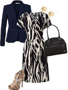 Patterned dress | navy blazer