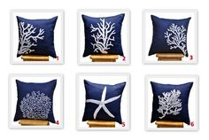 Blue Coral Pillow Covers, 18 x 18 Throw Pillow Cover - Set of 2, Navy Blue Pillow White Coral Embroidery, CHOOSE THE DESIGN