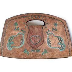 Bohemian Leather Purse, Brown, Handbag, Handmade, Esperanza Hope Doves Bag Tooled Leather with detachable strap