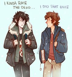 "Nico and Dipper, PercyJackson/Gravity Falls! ""On weekends they definitely meet up to play Mythomagic and DDamD."""