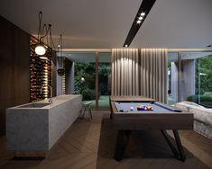 ideas for luxury closet modern interior design Walking Closet Ideas, Pool Table Room, Futuristisches Design, Design Ideas, Bar Designs, Home Cinema Room, Bright Decor, Billiard Room, Forest House