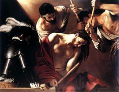 The Crowning With Thorns, Oil by Caravaggio (Michelangelo Merisi) (1571-1610, Italy)The Crowning with Thorns is a painting by the Italian master Michelangelo Merisi da Caravaggio. Executed probably in 1602/1604 or possibly around 1607, it is now located in the Kunsthistorisches Museum, Vienna.