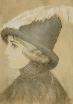 Leendert 'Leo' Gestel (Woerden 1881-1941 Hilversum) Vrouw met hoed - Kunsthandel Simonis en Buunk, Ede (Nederland). Asian Hair Ornaments, Dutch Artists, Feathered Hairstyles, Mondrian, Cubism, Leo, Pastel, Paintings, Illustrations