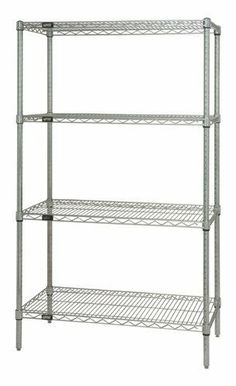 """Chrome Wire Shelving 4-Shelf Unit - WR54-2454C - 24"""" x 54"""" x 54"""" by Quantum Storage Systems. $200.38. Heavy-duty Chrome Wire Shelving Starter Kits allow up to 800 lb. capacity per shelf. Starter Kits come complete with 4 posts and 4 wire shelves. Wire Shelves are all welded construction with additional wire trussing for high strength characteristics. Wire allows air to circulate and light to penetrate for increased product visibility and minimal dirt accumulation. Split conic..."""