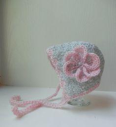 e5106569086 Flower Lacy Baby Bonnet Handmade Crochet Baby by BabyByBecca Crochet Baby  Bonnet
