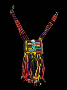 Africa   Beaded necklace from the Sidamo people of Ethiopia   Fiber, glass beads and buttons   ca. 1980s.