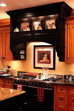 I like the hood over the stove! :) And I have someone who could build me one -- might be getting rid of the microwave soon. I like the hood over the stove! :) And I have someone who could build me one -- might be getting rid of the microwave soon. Christmas Kitchen, Farmhouse Kitchen Decor, House Design, Home, Kitchen Remodel, Kitchen Decor, New Kitchen, Kitchen Redo, Kitchen Hoods