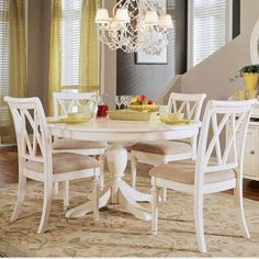 Round pedestal dining table white