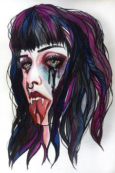 We all have demons . I just choose to feed mine .  By Endi #demons #eyes  #makeup #snake  #sketching #fashionillustration #art #creepy  #arte #eyelashes  #artwork #illustration  #high #vampire #crying  #girl  #goodnight #beautifulbizarre #illustration #watercolor #sketch #ink #fashion  #tears #nataliadorosh  #artistsoninstagram #trash #endiart #pinkhair #eyes #splittongue #surrealism