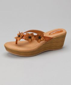 Take a look at the Tidewater Sandals Tan Flower Slide Wedge on #zulily today!