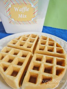 Homemade Belgian Waffle Mix Recipe from Frugal Foodie Mama - save money with this waffle mix you can make at home & it makes the fluffiest Belgian waffles!