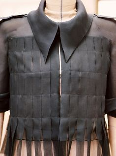 Sheer black shirt with stitched ribbon fringe; sewing idea; pattern cutting; couture fashion detail // Chanel
