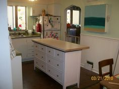 flea market flips before and afters ... dresser turned kitchen island.