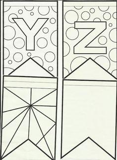 Letras do alfabeto bandeirinhas de Festa Junina para colorir e enfeitar a sala de aula! 3d Letters, Monogram Letters, Letters And Numbers, Letter Recognition, Silhouette Projects, Hand Lettering, Coloring Pages, Stencils, Diy And Crafts