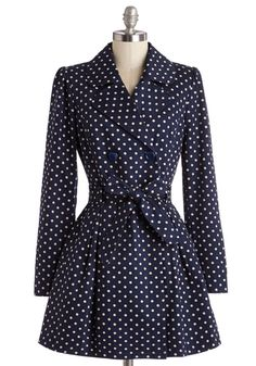 Capital Class Trench. Youre a metropolitan style maven as you stroll downtown in this polka-dotted trench coat by Myrtlewood! #blueNaN
