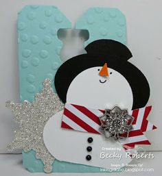 Inking Idaho: Snowman Tag see link to tutorial by a 7 year old! (Paper Creations by Mercedes - her daughter) 3d Christmas, Christmas Paper Crafts, Christmas Gift Tags, Xmas Cards, Holiday Cards, Card Making Inspiration, Making Ideas, Winter Karten, Punch Art Cards