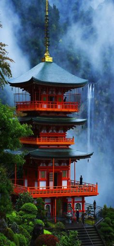 Like the colors: lush green, bold red and psychedelic blue. #RTW #China #travel www.goachi.com http://exploretraveler.com