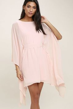 Lulus Exclusive! Float into the room in the Heavenly Being Blush Pink Kaftan Dress! Lightweight Georgette shapes a bateau neckline and kaftan bodice with wide-cut sleeves, and tying sash at the waist.
