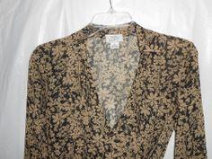 ANN TAYLOR LOFT  100% SILK Women Sheer Top/Blouse L/S Black/Tan Size 2P Petite  #AnnTaylorLOFT #Wrap #Career -  stores.ebay.com/vickysclothingandmore