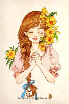 산그림 작가의 개인 갤러리 입니다. Girly Drawings, Anime Girl Drawings, Art Drawings Sketches, Anime Art Girl, Art And Illustration, Illustrations, Mode Poster, Cartoon Girl Drawing, Cartoon Art Styles